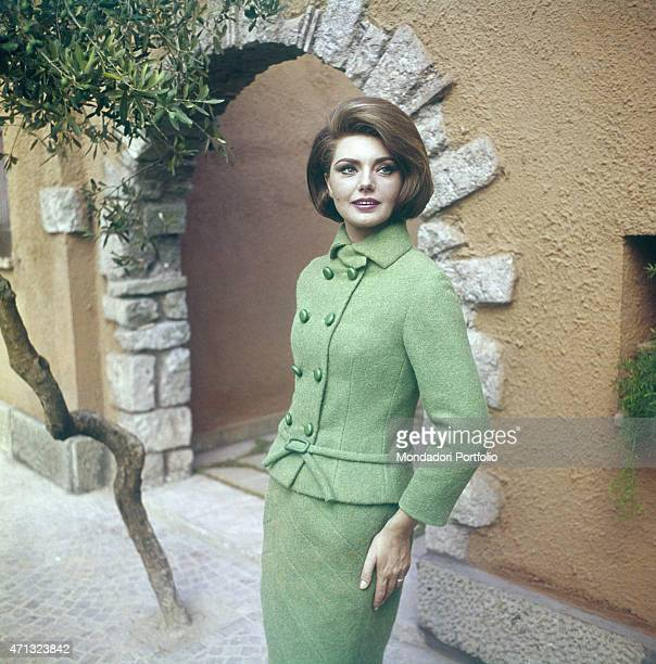 Croatian actress Sylva Koscina wearing a green suit 1964