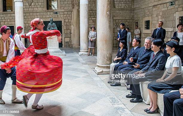 Croatian dancers perform during a visit of Japanese Prince Akishino and Princess Akishino in the medieval port of Dubrovnik on Croatia's Adriatic...