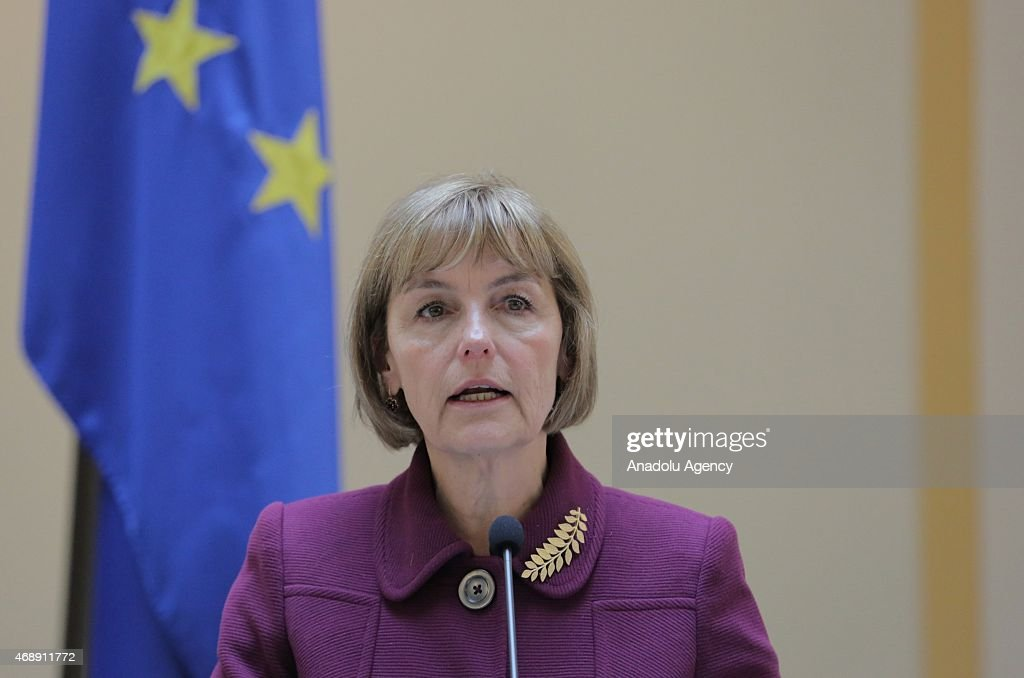 Croatian Deputy Prime Minister and Foreign Minister Vesna Pusic delivers a speech during a joint press conference with Kosovo's Deputy Prime Minister and Foreign Minister Hashim Thaci in Zagreb, Croatia on April 8, 2015.