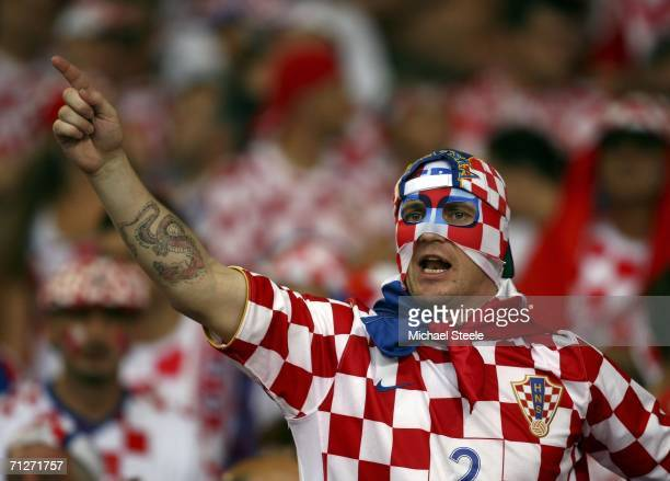 Croatian fan cheers on his team prior to kickoff during the FIFA World Cup Germany 2006 Group F match between Croatia and Australia at the...