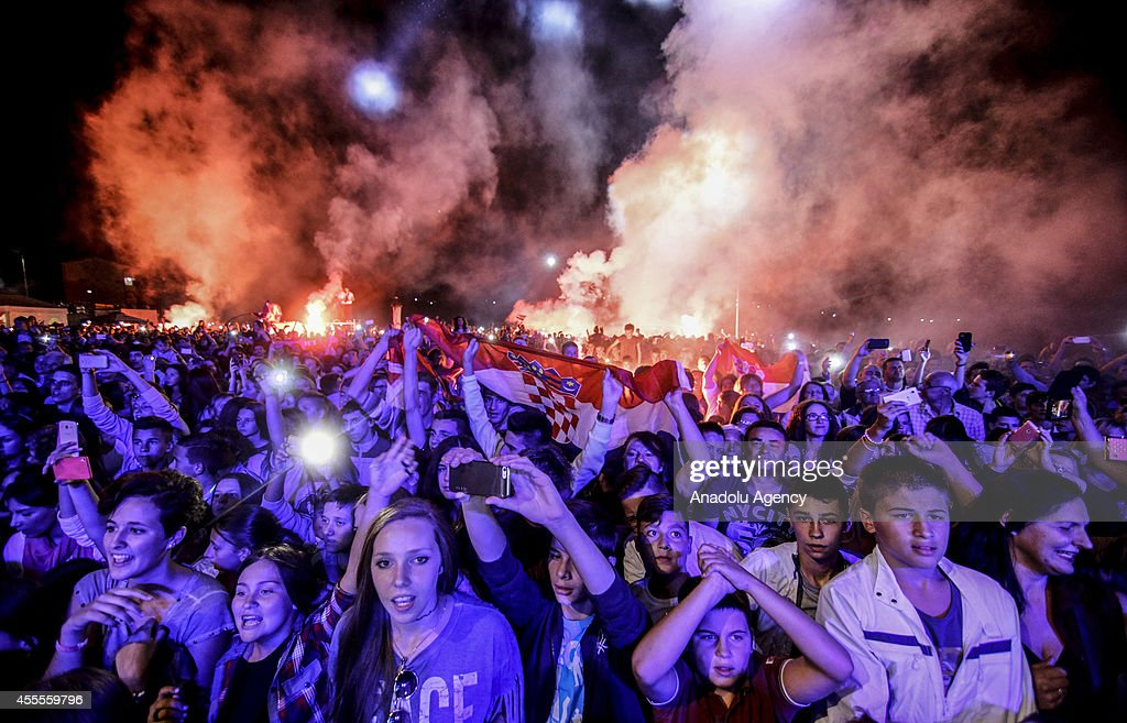 Croatian fans of the 2014 US Open Men's Singles champion Marin Cilic of Croatia who was born in Medjugorje attend a concert within Cilic's US Open...