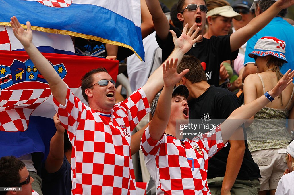 Croatian fans show their support during the second round match between Marin Cilic of Croatia and Janko Tipsarevic of Serbia during day three of the 2009 Australian Open at Melbourne Park on January 21, 2009 in Melbourne, Australia.