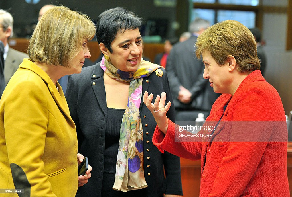 Croatian Foreign minister Vesna Pusic and Cypriot Foreign Affairs minister Erato Kozakou-Marcoulis EU commissioner for International Cooperation, Humanitarian Aid and Crisis Response Kristalina Georgieva (LtR) talk prior to a Foreign Affairs Council on January 31, 2013 at the EU Headquarters in Brussels. The Council will discuss the situation in the EU's southern neighbourhood, in particular in Syria and Egypt, and will prepare the forthcoming European Council debate on the Arab Spring. Ministers will also discuss the priorities of the foreign policy of the new US administration.They will be informed of the situation in Mali and the action taken by the EU in response to the special session of the last Foreign Affairs Council devoted to Mali.