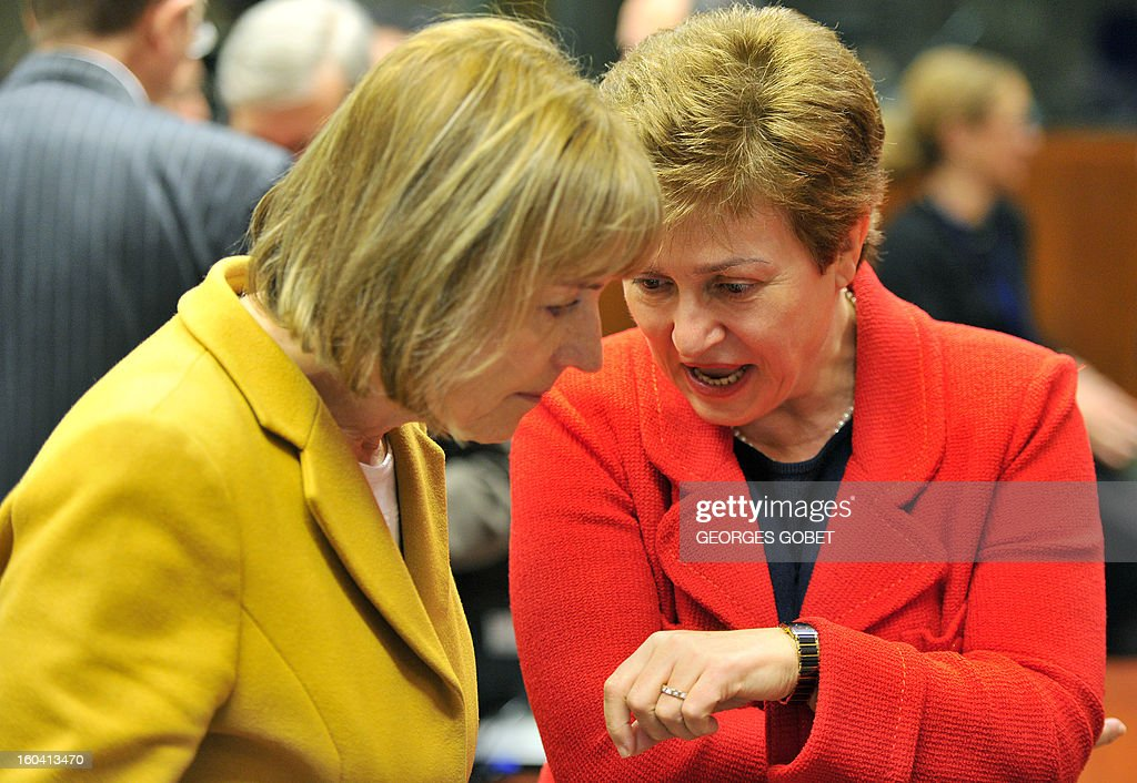 Croatian Foreign minister Vesna Pusic and EU commissioner for International Cooperation, Humanitarian Aid and Crisis Response Kristalina Georgieva (LtR) talk prior to a Foreign Affairs Council on January 31, 2013 at the EU Headquarters in Brussels. The Council will discuss the situation in the EU's southern neighbourhood, in particular in Syria and Egypt, and will prepare the forthcoming European Council debate on the Arab Spring. Ministers will also discuss the priorities of the foreign policy of the new US administration.They will be informed of the situation in Mali and the action taken by the EU in response to the special session of the last Foreign Affairs Council devoted to Mali.