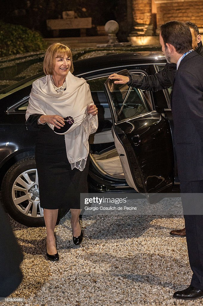 Croatian Foreign Minister Vesna Pusic arrives to attend a meeting with U.S. Secretary of State John Kerry at Villa Madama on February 27, 2013 in Rome, Italy. U.S. Secretary of State John Kerry is on his first trip as Secretary of State visiting nine nations in Europe and the Mideast.