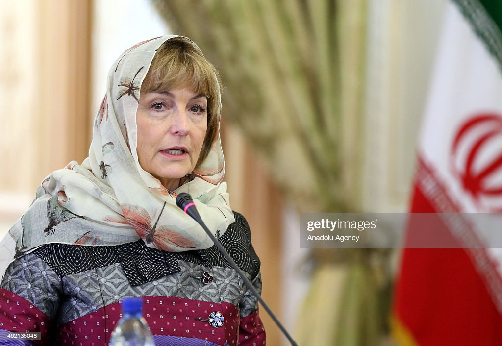 Croatian Foreign Minister Vesna Pusic delivers a speech during a joint press conference with her Iranian counterpart Mohammad Javad Zarif at the Iranian Foreign Ministry in Tehran, Iran on January 25, 2015.