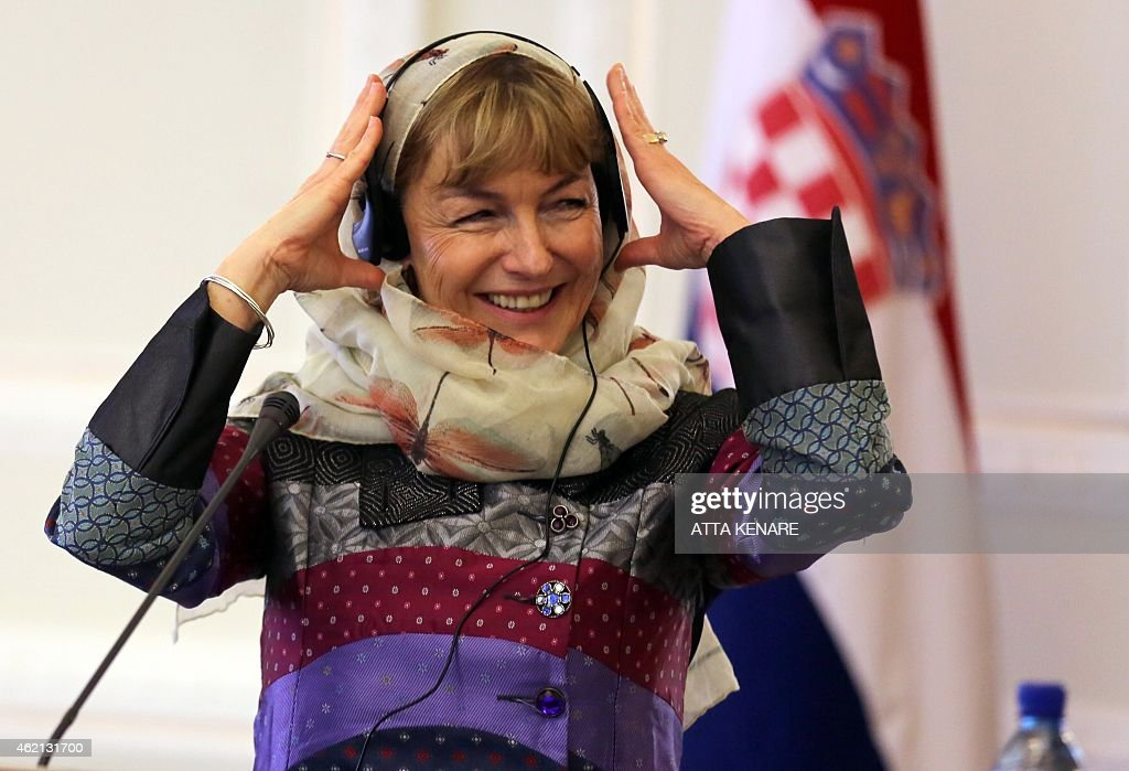 Croatian Foreign Minister Vesna Pusic gestures during a joint press conference with Iranian Foreign Minister Mohammad Javad Zarif (unseen) following a meeting on January 25, 2015 in the Iranian capital Tehran. Pusic arrived in Iran for talks on bilateral relations and the regional crises.