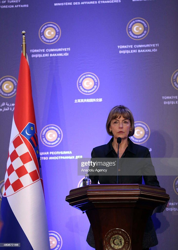 Croatian Foreign Minister Vesna Pusic holds a press conference after meeting Turkish Foreign Minister Mevlut Cavusoglu at the Ankara Palace in capital city of Turkey, Ankara on December 19,2014.
