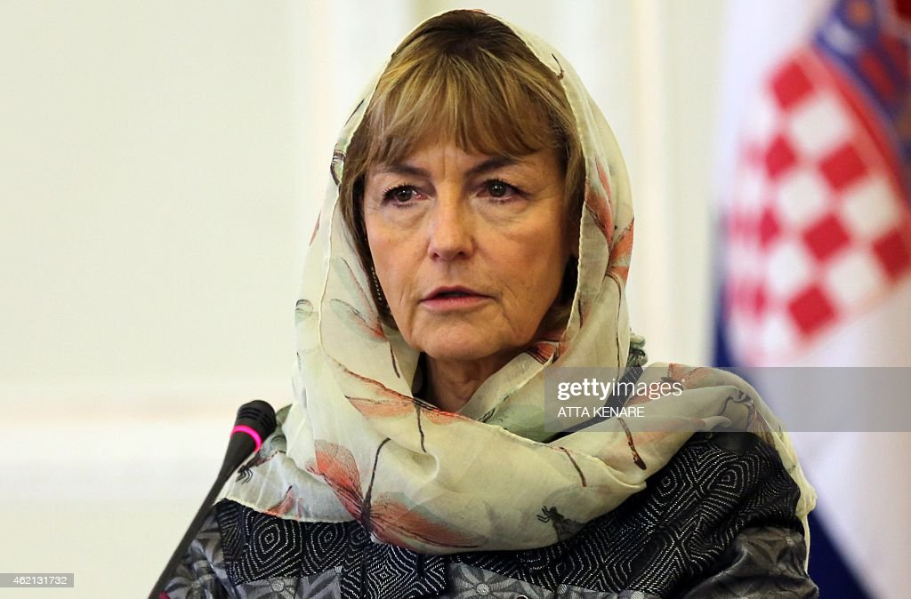 Croatian Foreign Minister Vesna Pusic speaks during a joint press conference with Iranian Foreign Minister Mohammad Javad Zarif (unseen) following a meeting on January 25, 2015 in the Iranian capital Tehran. Pusic arrived in Iran for talks on bilateral relations and the regional crises.