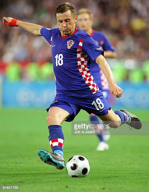 Croatian forward Ivica Olic kicks the ball during the Euro 2008 Championships quarterfinal football match Croatia vs Turkey on June 20 2008 at Ernst...