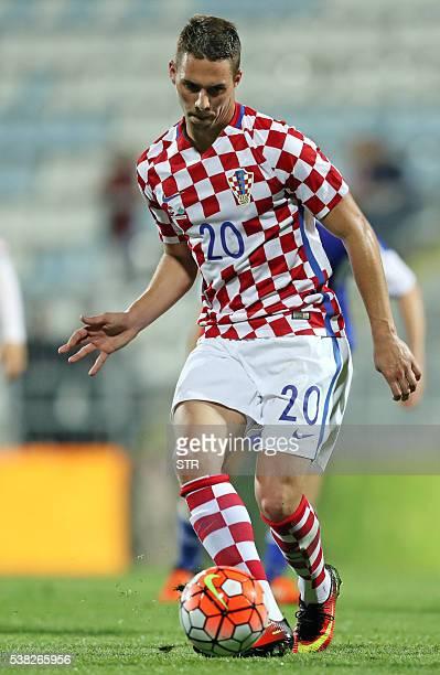 Croatian forward Marko Pjaca controls the ball during the friendly football match between Croatia and San Marino on June 4 2016 in Rijeka / AFP / STR