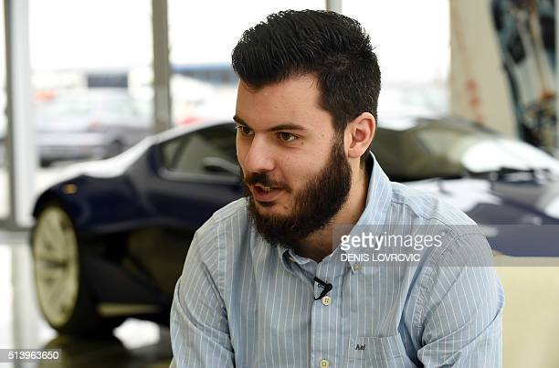 Croatian inventor Mate Rimac speaks during an interview at his factory and showroom where his 'Concept One' car is displayed in Sveta Nedelja on the...