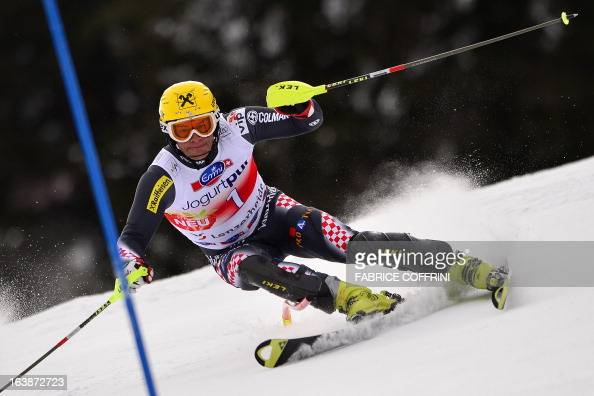 Croatian Ivica Kostelic competes during the Men Slalom race at the Alpine ski World Cup finals on March 17 2013 in Lenzerheide AFP PHOTO / FABRICE...