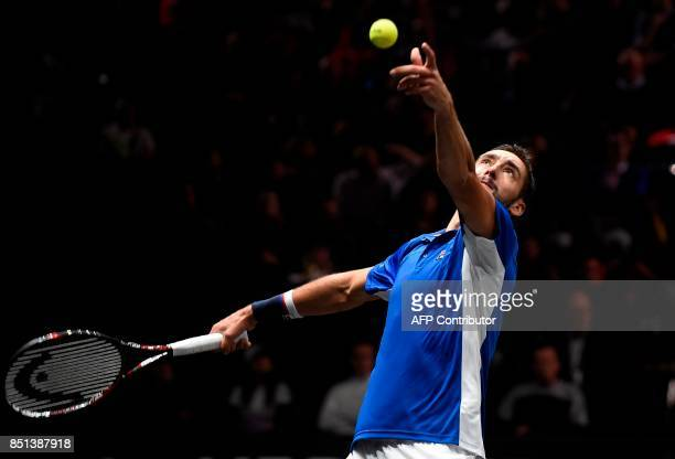 Croatian Marin Cilic of Team Europa serves to US Frances Tiafoe of Team World during first day of Laver Cup on September 22 2017 in O2 Arena in...