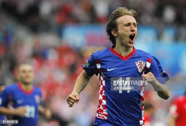 Croatian midfielder Luka Modric celebrates after scoring a penalty shot during the Euro 2008 Championships Group B football match Austria vs Croatia...