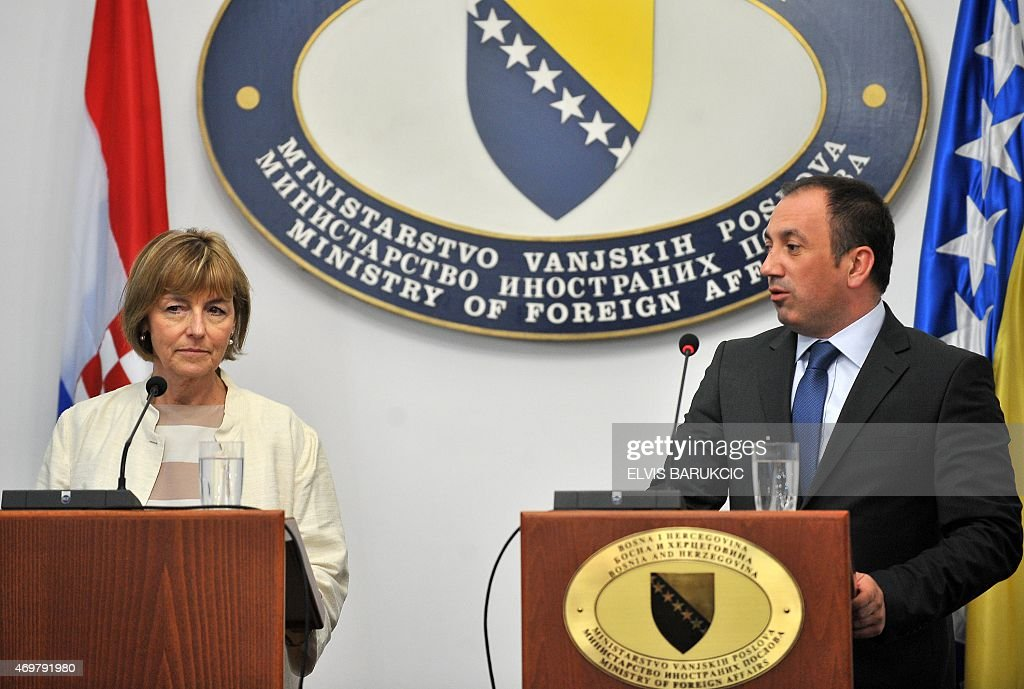 Croatian Minister of Foreign and European Affairs, Vesna Pusic (L) and Bosnian Minister of Foreign Affairs, Igor Crnadak (R) speak to the press after a meeting in Sarajevo, on April 15, 2015. Pusic arrived to Bosnia for a one-day official visit.