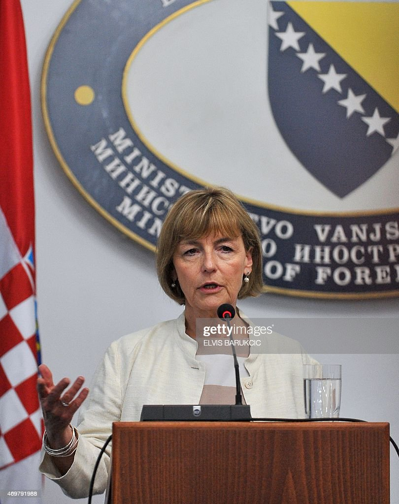 Croatian Minister of Foreign and European Affairs, Vesna Pusic speaks to the press after a meeting in Sarajevo, on April 15, 2015. Pusic arrived to Bosnia for a one-day official visit. AFP PHOTO / ELVIS BARUKCIC