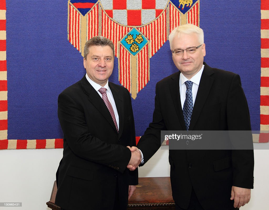 Croatian President Ivo Josipovic (R) and his Macedonian counterpart <a gi-track='captionPersonalityLinkClicked' href=/galleries/search?phrase=Gjorge+Ivanov+-+President&family=editorial&specificpeople=12777955 ng-click='$event.stopPropagation()'>Gjorge Ivanov</a> shake hands on October 31, 2011 before their meeting in Zagreb. Ivanov is on an one-day official visit to Croatia. PHOTO / STRINGER