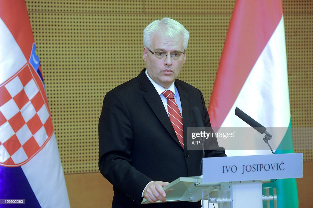 Croatian President Ivo Josipovic answers a journalist's question during his joint press conference with his Hungarian counterpart Janos Ader (not pictured) in the Kodaly cultural center in Pecs on November 24, 2012. Josipovic is a main guest of the Croatian Day in Hungary.
