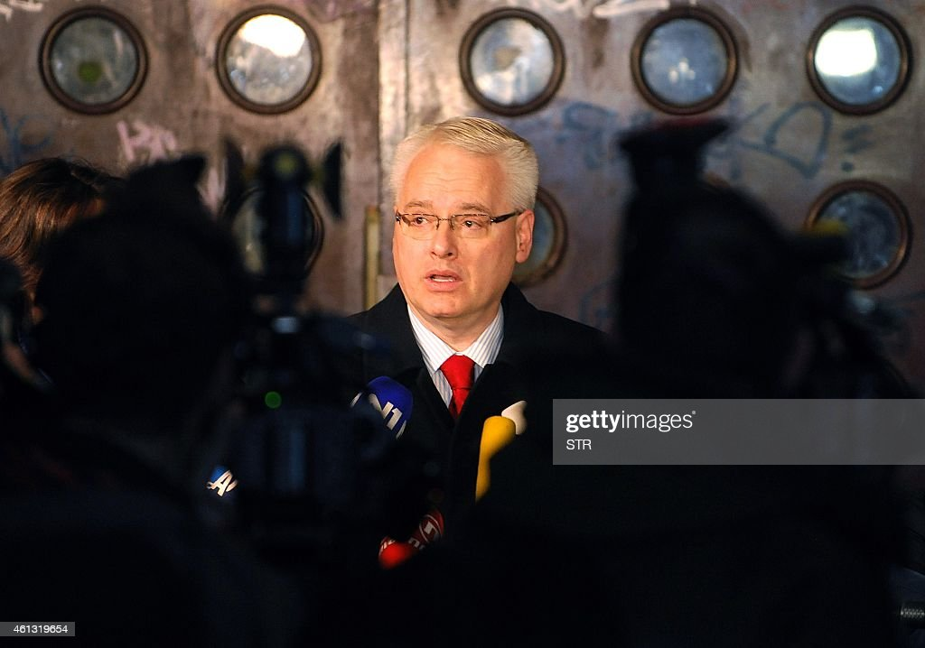 Croatian President <a gi-track='captionPersonalityLinkClicked' href=/galleries/search?phrase=Ivo+Josipovic&family=editorial&specificpeople=6599425 ng-click='$event.stopPropagation()'>Ivo Josipovic</a> gives a statement to the media in front of a polling station in Zagreb on January 11, 2015. Croatians went to the polls to elect a president under the cloud of a deep economic crisis, with incumbent <a gi-track='captionPersonalityLinkClicked' href=/galleries/search?phrase=Ivo+Josipovic&family=editorial&specificpeople=6599425 ng-click='$event.stopPropagation()'>Ivo Josipovic</a> seen as the frontrunner as he sought a second term leading the EU's newest member state.