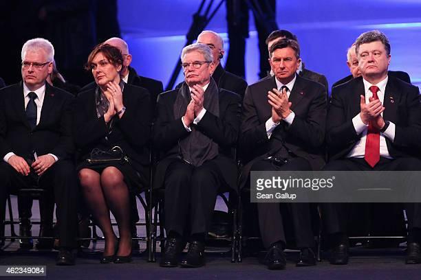Croatian President Ivo Josipovic his wife Tatjana Josipovic German President Joachim Gauck Slovenian President Borut Pahor and Ukrainian President...