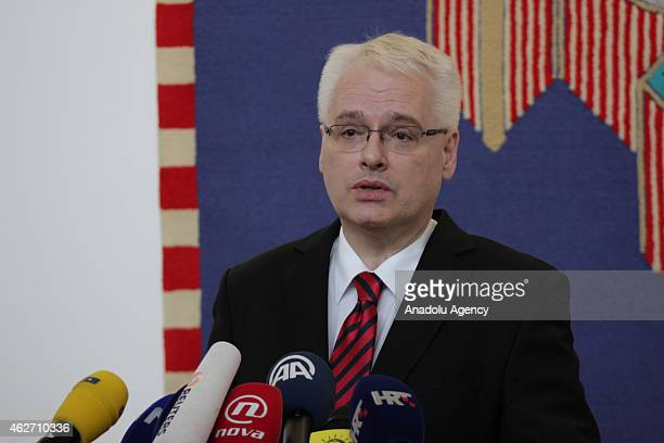 Croatian President Ivo Josipovic speaks during a press conference about the decision of International Court of Justice on genocide case in Belgrade...