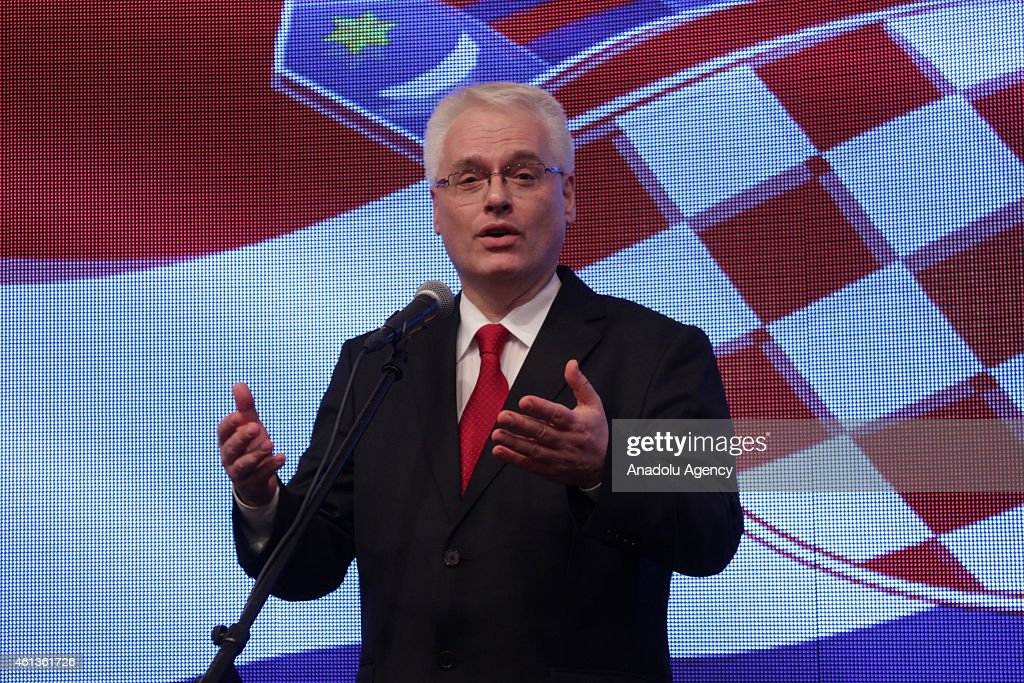 Croatian President <a gi-track='captionPersonalityLinkClicked' href=/galleries/search?phrase=Ivo+Josipovic&family=editorial&specificpeople=6599425 ng-click='$event.stopPropagation()'>Ivo Josipovic</a> speaks on January 11, 2015 after hearing the first preliminary results of the Croatian presidential elections at his campaign headquarters in Zagreb, capital city of Croatia on January 11, 2015.