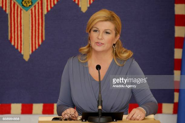 Croatian President Kolinda Grabar Kitarovic speaks during a joint press conference with Czech President Milos Zeman following their meeting in Zagreb...