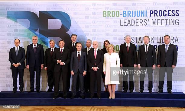 Croatian President Kolinda GrabarKitarovic US VicePresident Joe Biden European Council President Donald Tusk Slovenian President Borut Pahor top rowL...