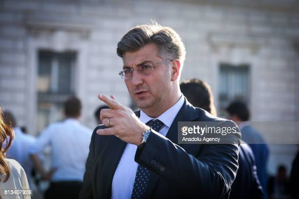 Croatian Prime Minister Andrej Plenkovic attends the Western Balkans Summit in Piazza Unita d'Italia in Trieste Italy on July 12 2017 Seven EU and...