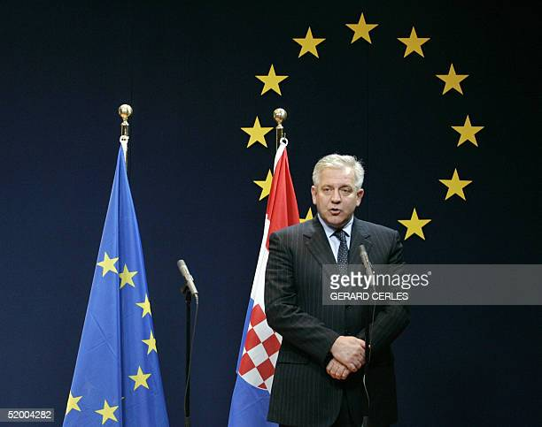 Croatian Prime Minister Ivo Sanader is pictured prior to a bilateral meeting with EU Foreign Policy Chief Javier Solana in EU Headquarters in...