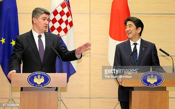 Croatian Prime Minister Zoran Milanovic and Japanese Prime Minister Shinzo Abe attend a joint press conference after their meeting at Abe's official...