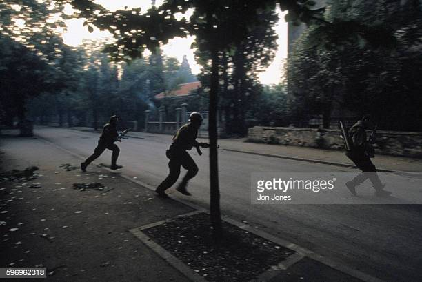 Croatian soldiers in action against Muslim forces