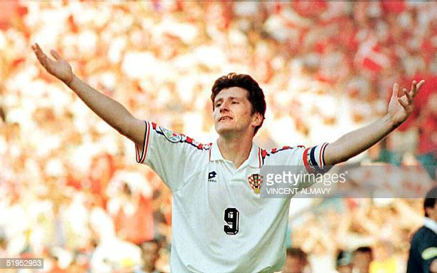 Croatian striker Davor Suker celebrates after scoring his second goal against Denmark in their group D European Nations soccer championship match in...