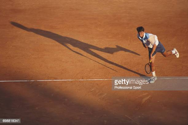 Croatian tennis player Goran Ivanisevic pictured in action competing to reach the second round of the Men's Singles tournament at the 1993 Monte...