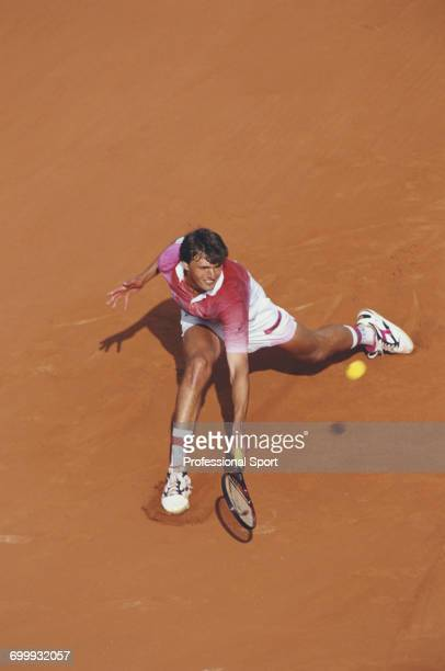 Croatian tennis player Goran Ivanisevic pictured in action competing to reach the quarterfinals of the Men's Singles tournament at the 1994 French...