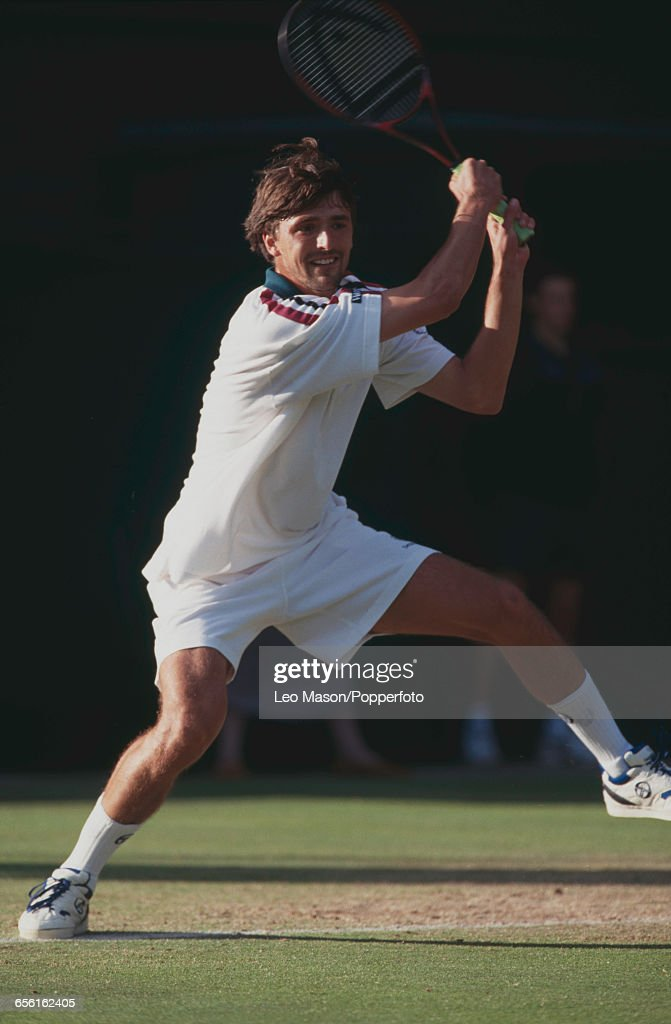 Croatian tennis player Goran Ivanisevic pictured in action during competition to reach the quarterfinals of the Men's Singles tournament at the...