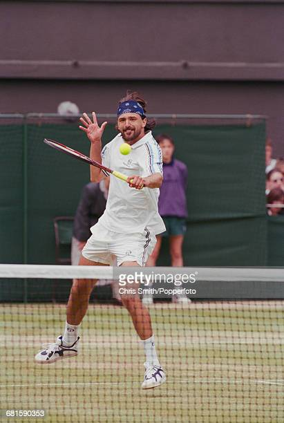 Croatian tennis player Goran Ivanisevic pictured in action to win against Dutch tennis player Richard Krajicek 63 64 57 67 1513 in the semifinals of...