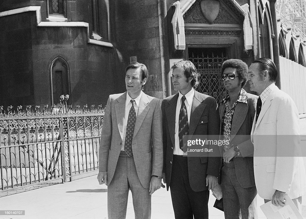 Croatian tennis player Nikola Pilic (far left), outside the High Court in London with (left to right) tennis players Cliff Drysdale, <a gi-track='captionPersonalityLinkClicked' href=/galleries/search?phrase=Arthur+Ashe&family=editorial&specificpeople=215183 ng-click='$event.stopPropagation()'>Arthur Ashe</a> (1943 - 1993) and <a gi-track='captionPersonalityLinkClicked' href=/galleries/search?phrase=Jack+Kramer&family=editorial&specificpeople=240245 ng-click='$event.stopPropagation()'>Jack Kramer</a>, 18th June 1973. They are awaiting a judgement on an application by the Association of Tennis Professionals (ATP) for an injunction seeking to lift the ban placed on Pilic by the International Tennis Federation. The suspension on Pilic was later upheld and the ATP, led by Kramer, organized a boycott of the 1973 Wimbledon championships by 81 players.