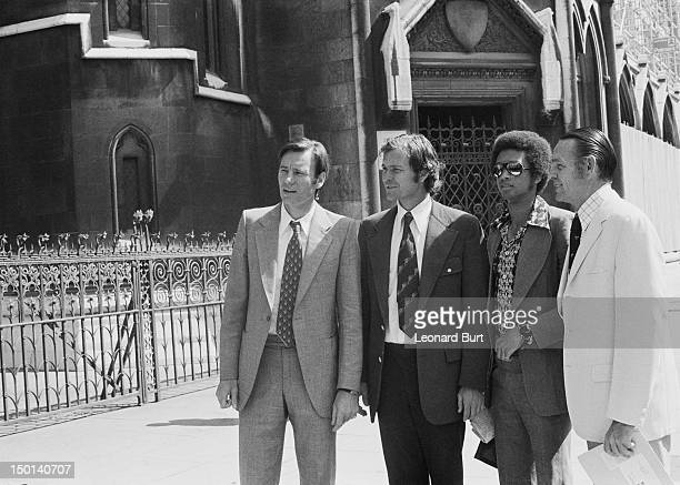 Croatian tennis player Nikola Pilic outside the High Court in London with tennis players Cliff Drysdale Arthur Ashe and Jack Kramer 18th June 1973...