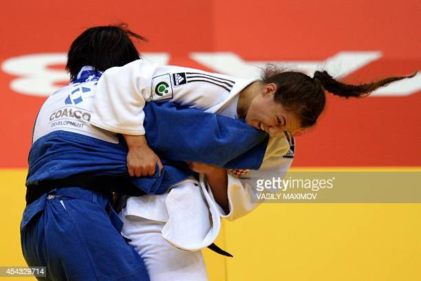 Croatia's Barbara Matic competes with Japan's Karen Nun Ira during the under 70 kg category semifinal at the IJF World Judo Championship in...