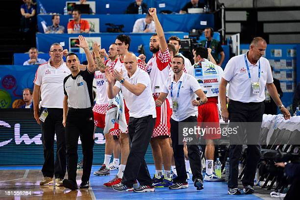 Croatia's bench reacts during the 2013 EuroBasket Championship basketball match for third place between Spain and Croatia in Ljubljana on September...