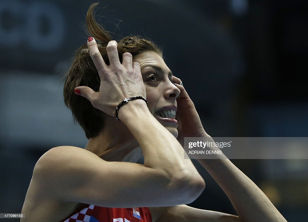 Croatia's Blanka Vlasic reacts in women's High Jump qualification group A at the IAAF World Indoor Athletics Championships in the Ergo Arena in the Polish coastal town of Sopot, on March 7, 2014.