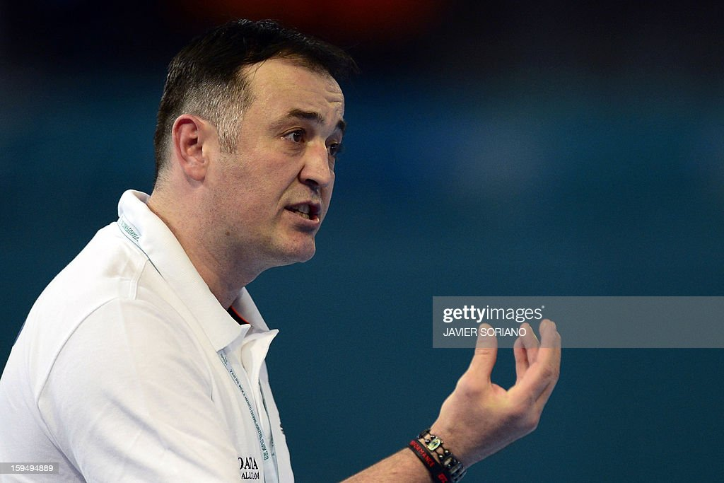 Croatia's coach Slavko Goluza reacts during the 23rd Men's Handball World Championships preliminary round Group D match Algeria vs Croatia at the Caja Magica in Madrid on January 14, 2013.