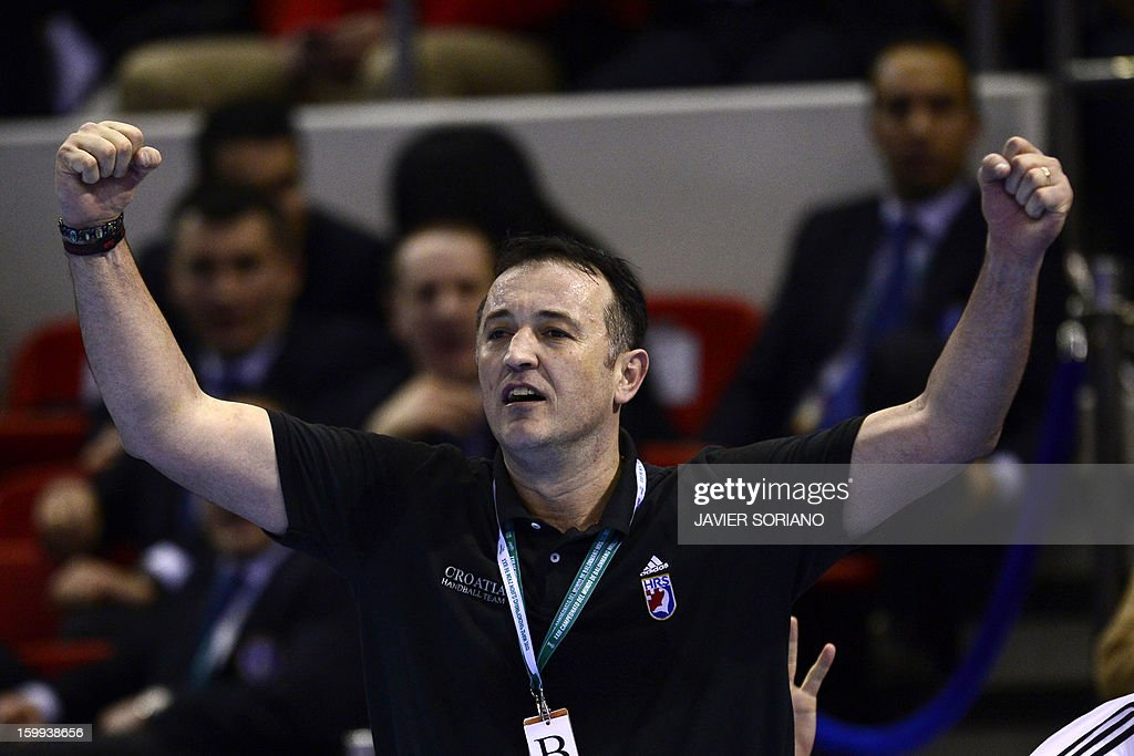 Croatia's coach Slavko Goluza reacts during the 23rd Men's Handball World Championships quarterfinal match France vs Croatia at the Pabellon Principe Felipe in Zaragoza on January 23, 2013. Croatia won 30-23.