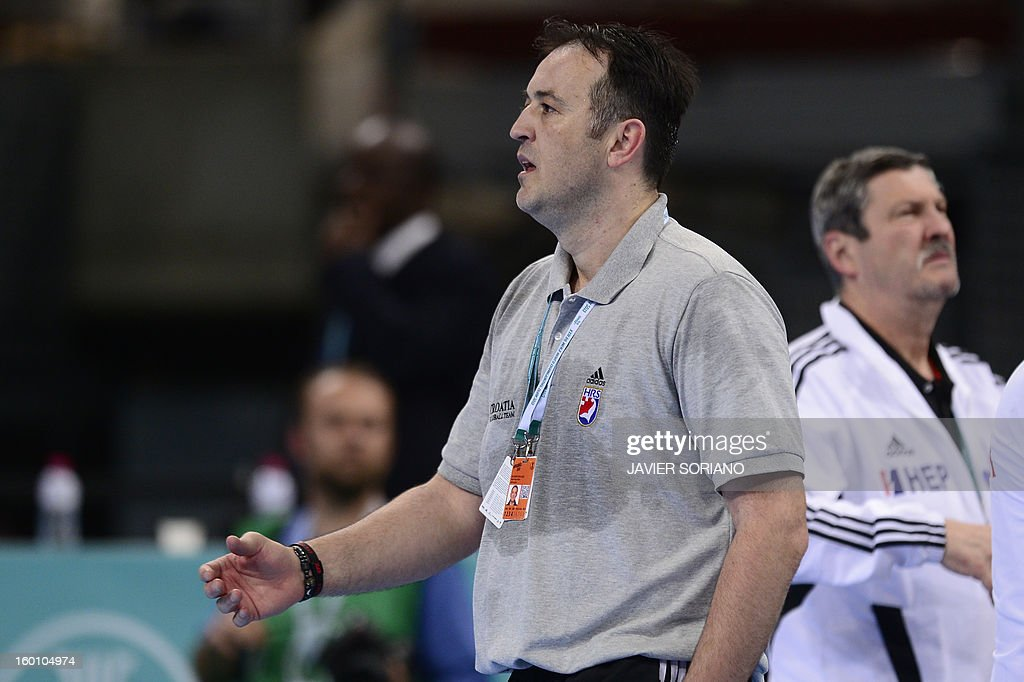 Croatia's coach Slavko Goluza reacts during the 23rd Men's Handball World Championships bronze medal match Slovenia vs Croatia at the Palau Sant Jordi in Barcelona on January 26, 2013. AFP PHOTO/ JAVIER SORIANO