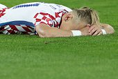 TOPSHOT Croatia's defender Domagoj Vida reacts after the round of sixteen football match Croatia against Portugal of the Euro 2016 football...