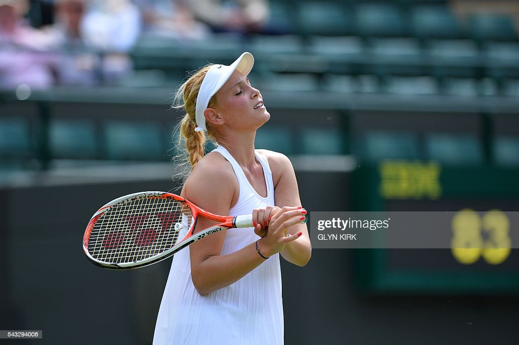 Croatia's Donna Vekic reacts after a point against US player Venus Williams during their women's singles first round match on the first day of the 2016 Wimbledon Championships at The All England Lawn Tennis Club in Wimbledon, southwest London, on June 27, 2016. / AFP / GLYN