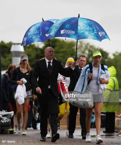 Croatia's Donna Vekic walks back to the locker room during her rain delayed quarter final match against Romania's Sorana Cirstea at the AEGON Classic...
