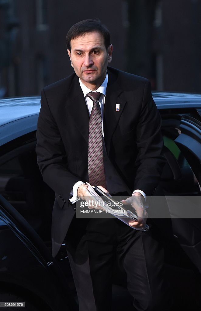 Croatia's Foreign Minister Miro Kovac arrives to attend a EU foreign ministers meeting in Amsterdam, on February 6, 2016. The European Union on Wednesday finally reached agreement on how to finance a three-billion-euro ($3.3-billion) deal to aid Syrian refugees in Turkey, in exchange for Ankara's help in stemming the flow of migrants. / AFP / EMMANUEL DUNAND